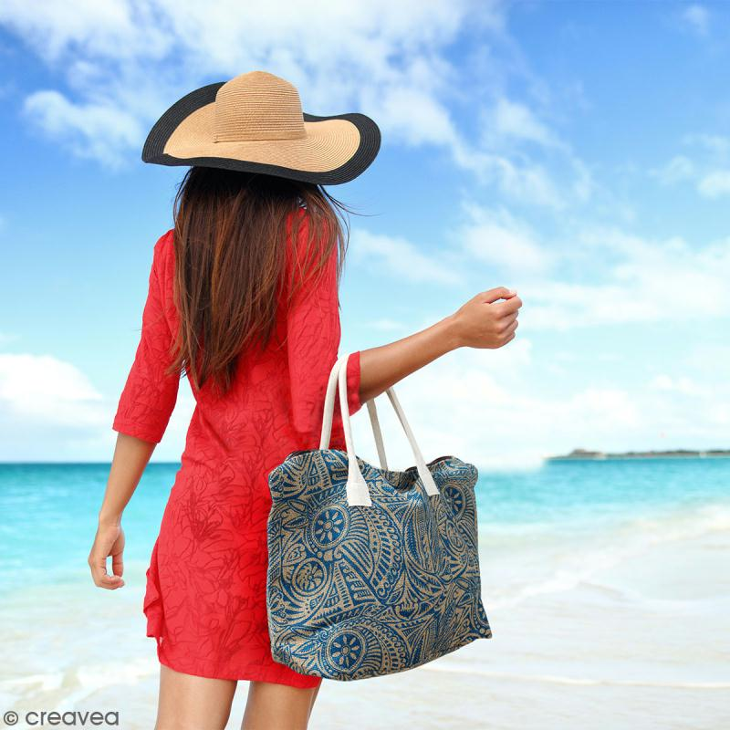 Sac shopping en jute naturelle - Fleurs - Bleu - 50 x 38 cm - Photo n°4