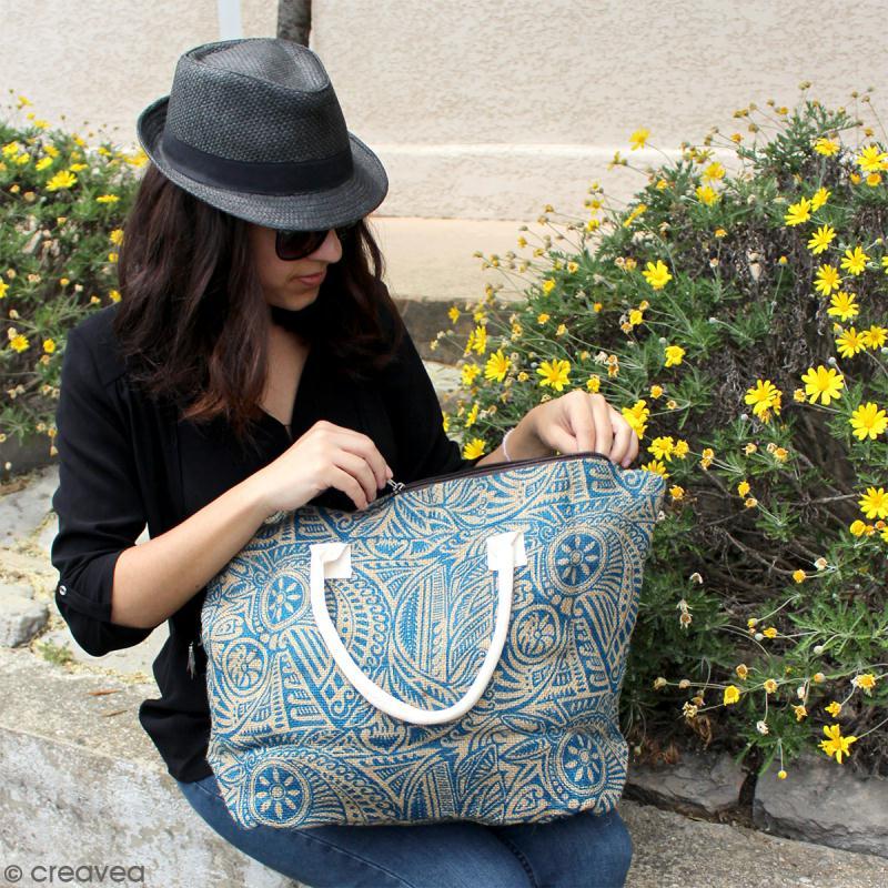 Sac shopping en jute naturelle - Fleurs - Bleu - 50 x 38 cm - Photo n°5