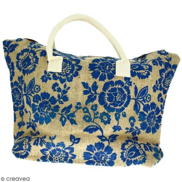 Sac shopping en jute naturelle - Fleurs - Bleu - 50 x 38 cm - Photo n°1