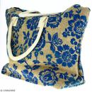 Sac shopping en jute naturelle - Fleurs - Bleu - 50 x 38 cm - Photo n°3