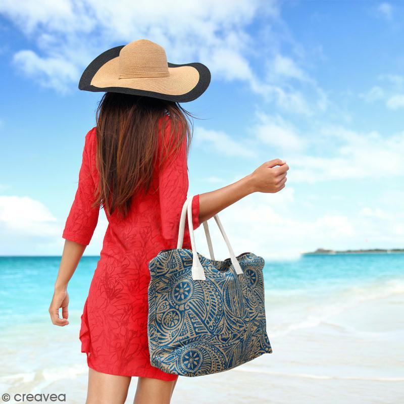 Sac shopping en jute naturelle - Arabesques Végétales - Bleu - 50 x 38 cm - Photo n°4