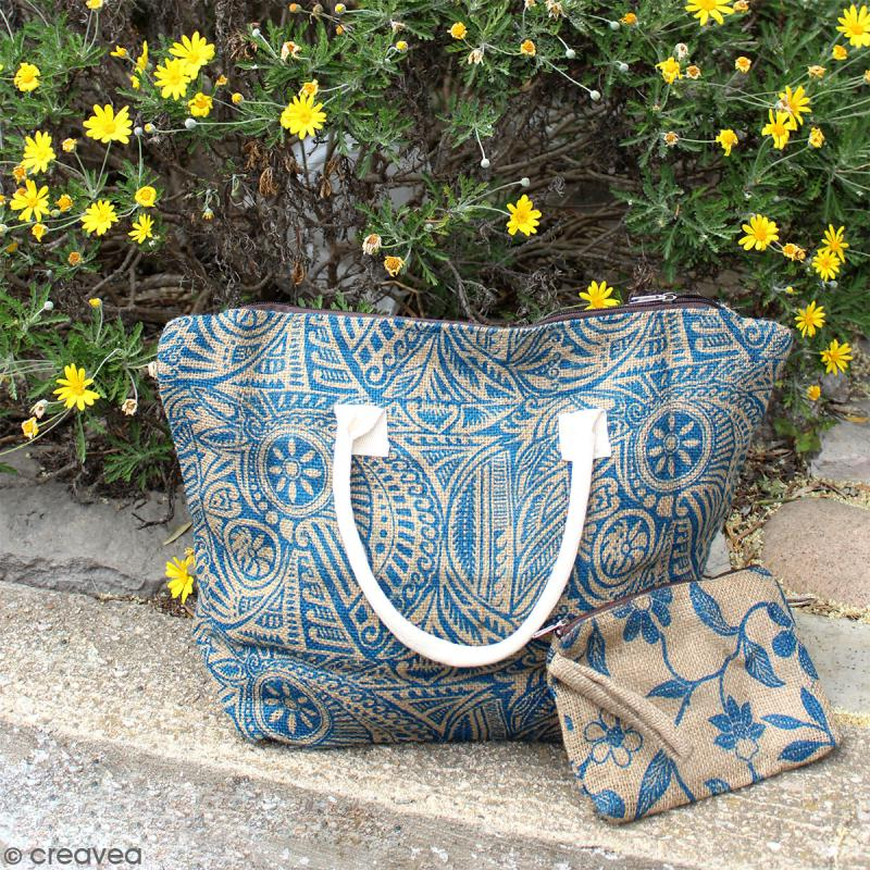 Sac shopping en jute naturelle - Arabesques Végétales - Bleu - 50 x 38 cm - Photo n°6