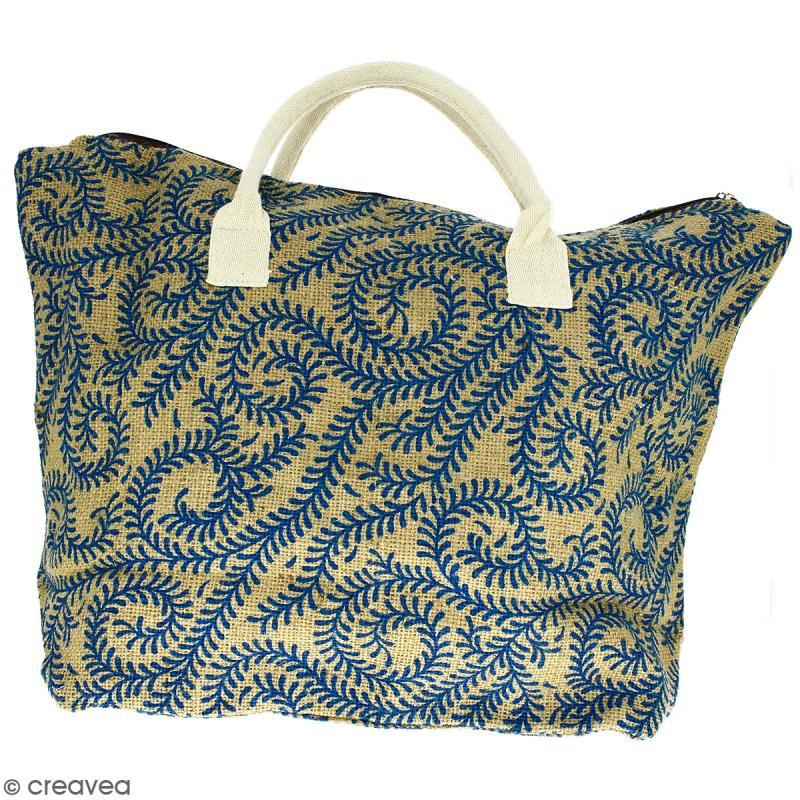 Sac shopping en jute naturelle - Arabesques Végétales - Bleu - 50 x 38 cm - Photo n°1