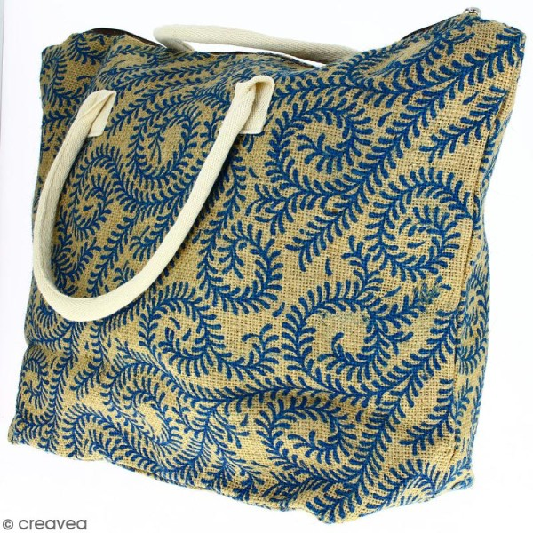 Sac shopping en jute naturelle - Arabesques Végétales - Bleu - 50 x 38 cm - Photo n°3