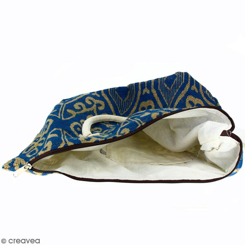Sac shopping en jute naturelle - Polynésien (grands motifs) - Bleu - 50 x 38 cm - Photo n°2