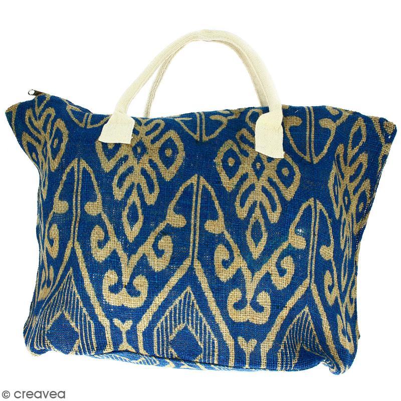 Sac shopping en jute naturelle - Polynésien (grands motifs) - Bleu - 50 x 38 cm - Photo n°1