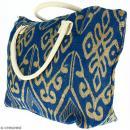 Sac shopping en jute naturelle - Polynésien (grands motifs) - Bleu - 50 x 38 cm - Photo n°3