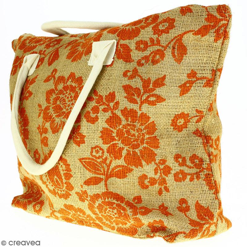 Sac shopping en jute naturelle - Fleurs - Orange - 50 x 38 cm - Photo n°3