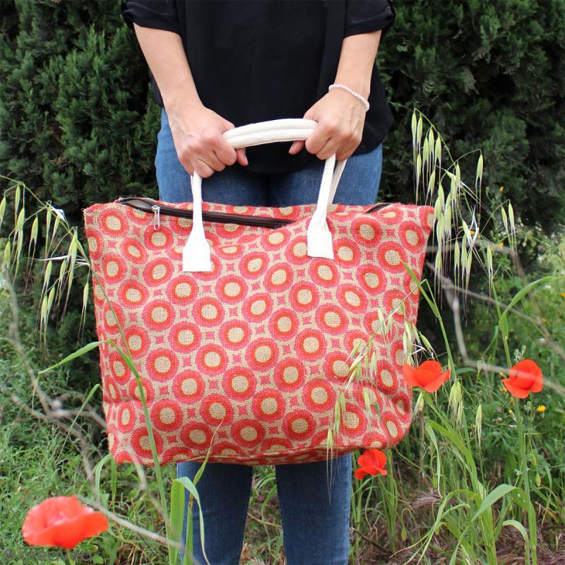 Sac shopping en jute naturelle - Fleurs - Orange - 50 x 38 cm - Photo n°5