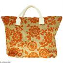 Sac shopping en jute naturelle - Fleurs - Orange - 50 x 38 cm - Photo n°1