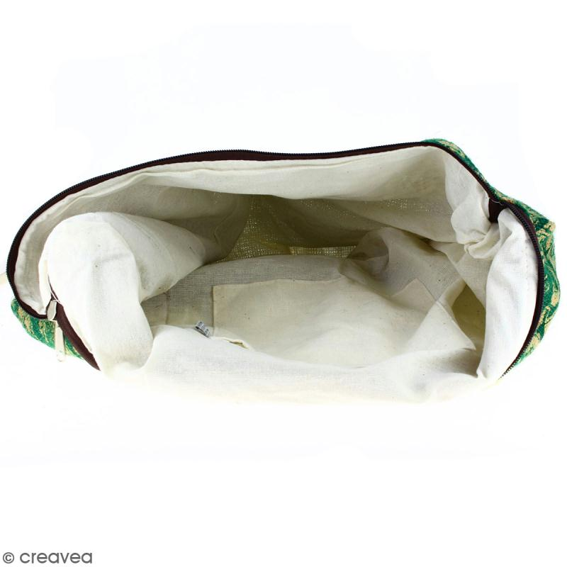 Sac shopping en jute naturelle - Paisley - Vert sapin - 50 x 38 cm - Photo n°2