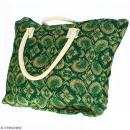 Sac shopping en jute naturelle - Paisley - Vert sapin - 50 x 38 cm - Photo n°3