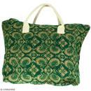 Sac shopping en jute naturelle - Paisley - Vert sapin - 50 x 38 cm - Photo n°1