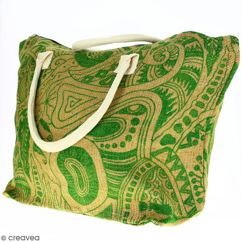 Sac shopping en jute naturelle - Polynésien - Vert clair - 50 x 38 cm - Photo n°3