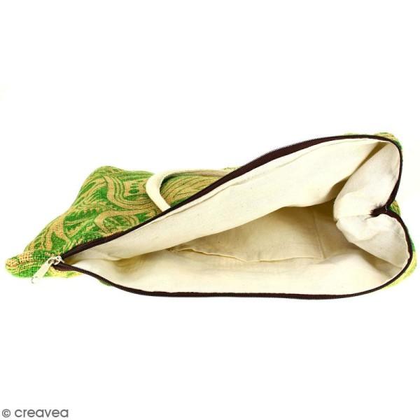 Sac shopping en jute naturelle - Polynésien - Vert clair - 50 x 38 cm - Photo n°2