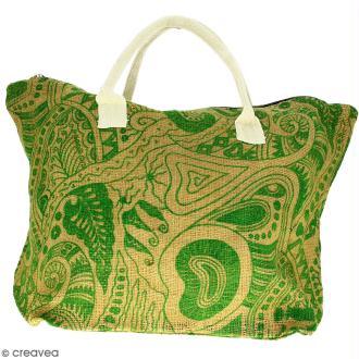 Sac shopping en jute naturelle - Polynésien - Vert clair - 50 x 38 cm