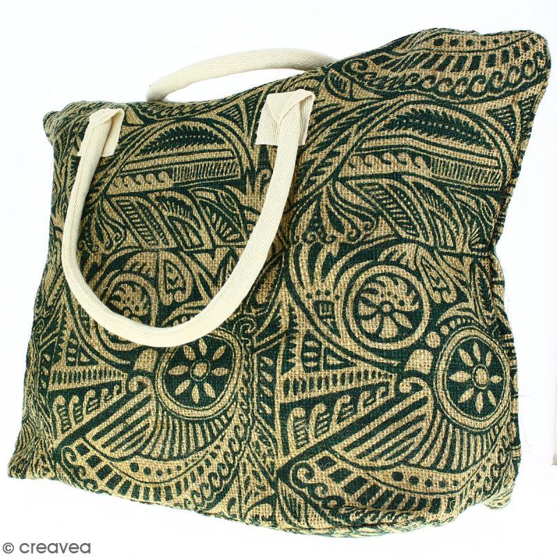 Sac shopping en jute naturelle - Polynésien - Vert foncé - 50 x 38 cm - Photo n°3