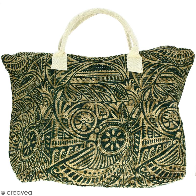 Sac shopping en jute naturelle - Polynésien - Vert foncé - 50 x 38 cm - Photo n°1