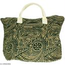 Sac shopping en jute naturelle - Polynésien - Vert foncé - 50 x 38 cm