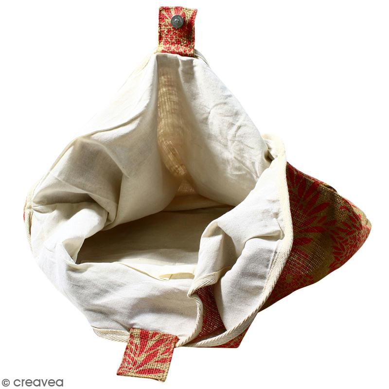 Maxi sac cabas en jute naturelle - Feu d'artifice - Rouge - 62 x 45 cm - Photo n°3