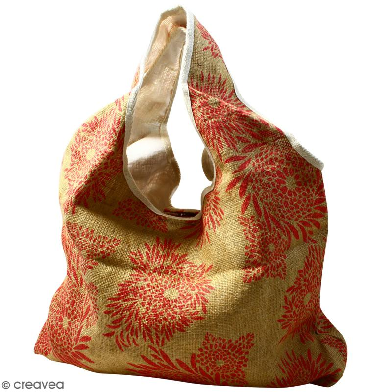 Maxi sac cabas en jute naturelle - Feu d'artifice - Rouge - 62 x 45 cm - Photo n°1