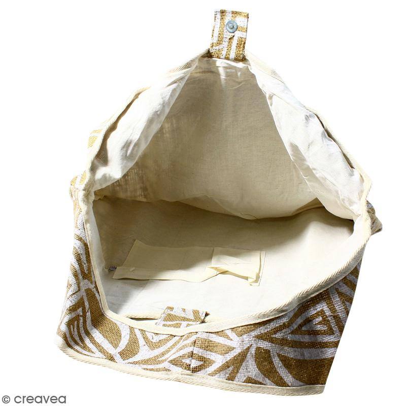 Maxi sac cabas en jute naturelle - Tribal ethnique - Blanc - 62 x 45 cm - Photo n°3