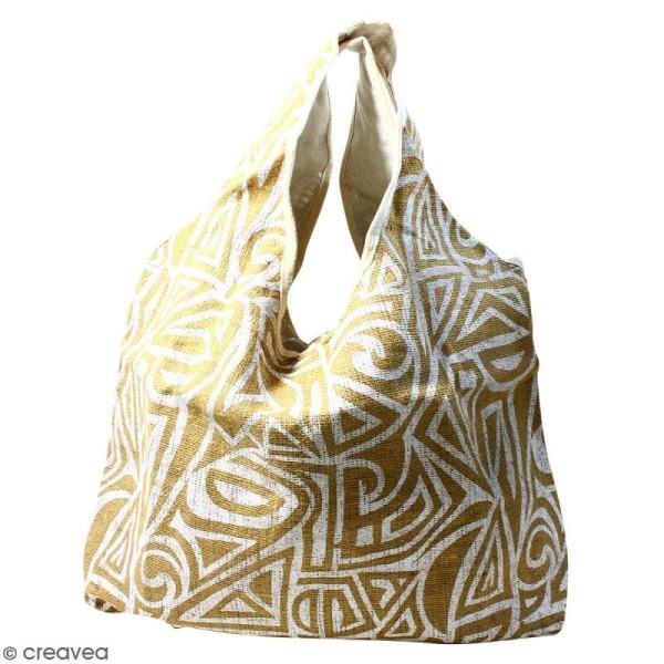 Maxi sac cabas en jute naturelle - Tribal ethnique - Blanc - 62 x 45 cm - Photo n°1