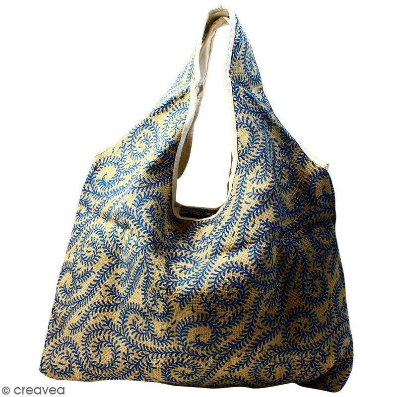 Maxi sac cabas en jute naturelle - Arabesques Végétales - Bleu - 62 x 45 cm - Photo n°1