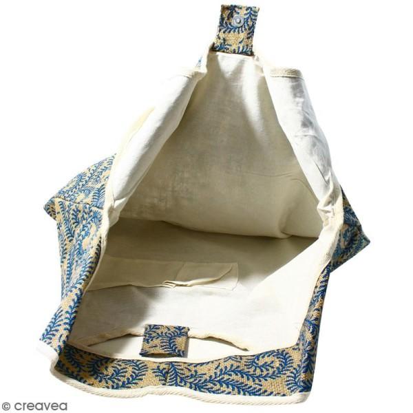 Maxi sac cabas en jute naturelle - Arabesques Végétales - Bleu - 62 x 45 cm - Photo n°3