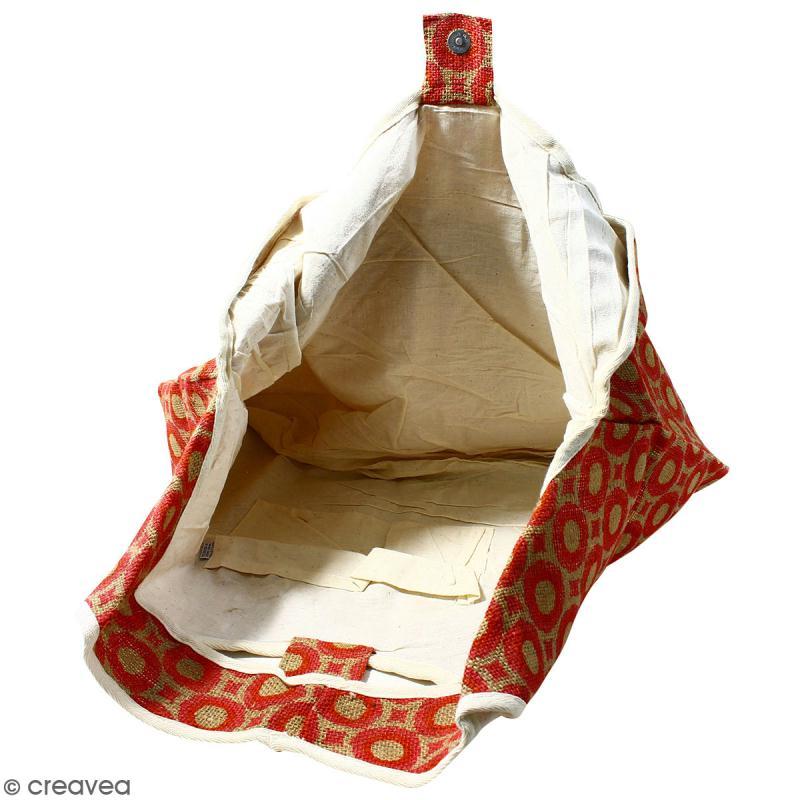 Maxi sac cabas en jute naturelle - Cercles et carrés - Rouge - 62 x 45 cm - Photo n°3