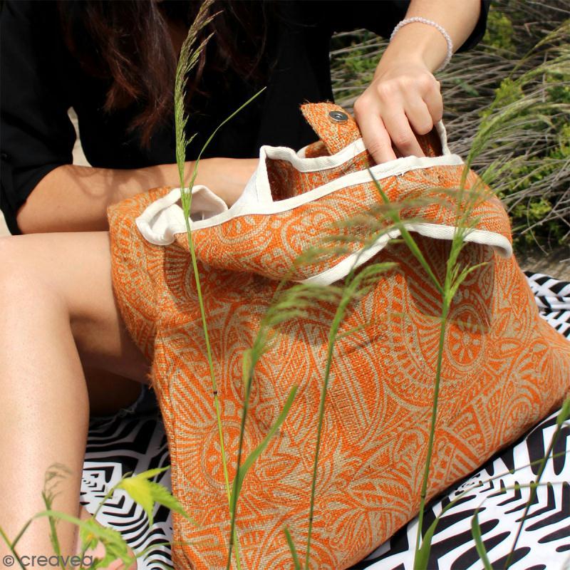 Maxi sac cabas en jute naturelle - Cercles et carrés - Rouge - 62 x 45 cm - Photo n°4