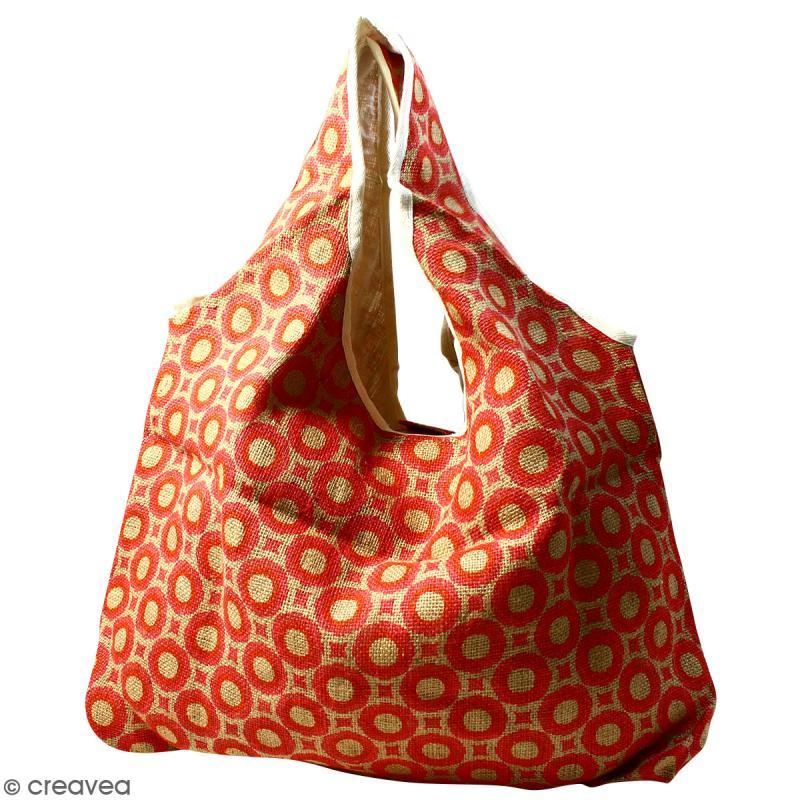 Maxi sac cabas en jute naturelle - Cercles et carrés - Rouge - 62 x 45 cm - Photo n°1