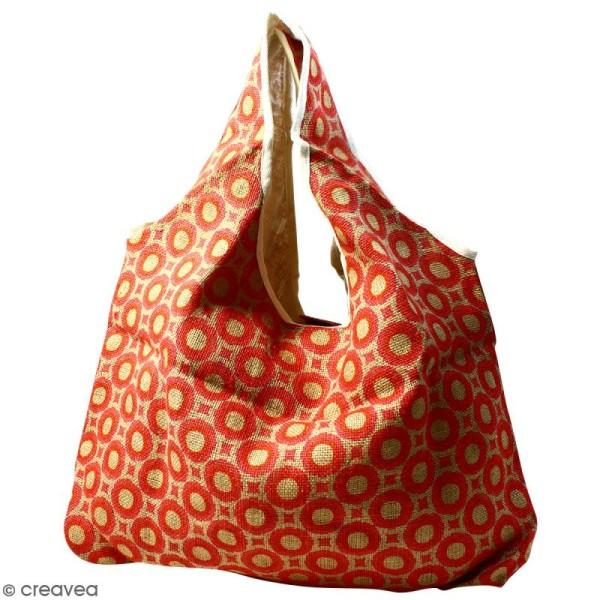 0151c496aa Maxi sac cabas en jute naturelle - Cercles et carrés - Rouge - 62 x ...