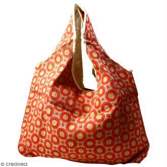 Maxi sac cabas en jute naturelle - Cercles et carrés - Rouge - 62 x 45 cm