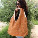 Maxi sac cabas en jute naturelle - Cercles et carrés - Rouge - 62 x 45 cm - Photo n°5
