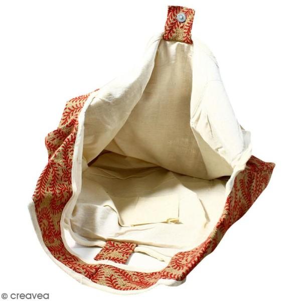 Maxi sac cabas en jute naturelle - Arabesques Végétales - Rouge foncé - 62 x 45 cm - Photo n°3