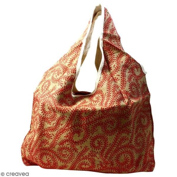 Maxi sac cabas en jute naturelle - Arabesques Végétales - Rouge foncé - 62 x 45 cm - Photo n°1