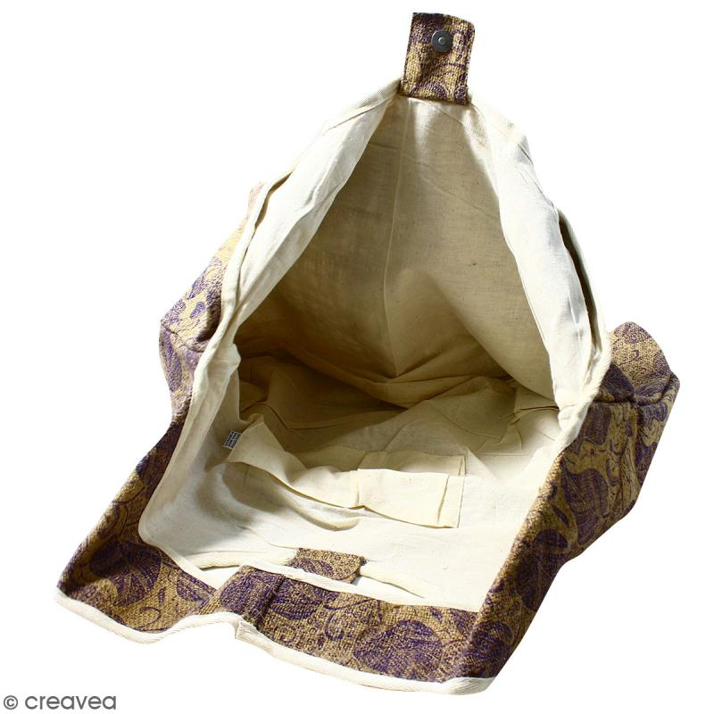 Maxi sac cabas en jute naturelle - Feuilles - Violet - 62 x 45 cm - Photo n°3