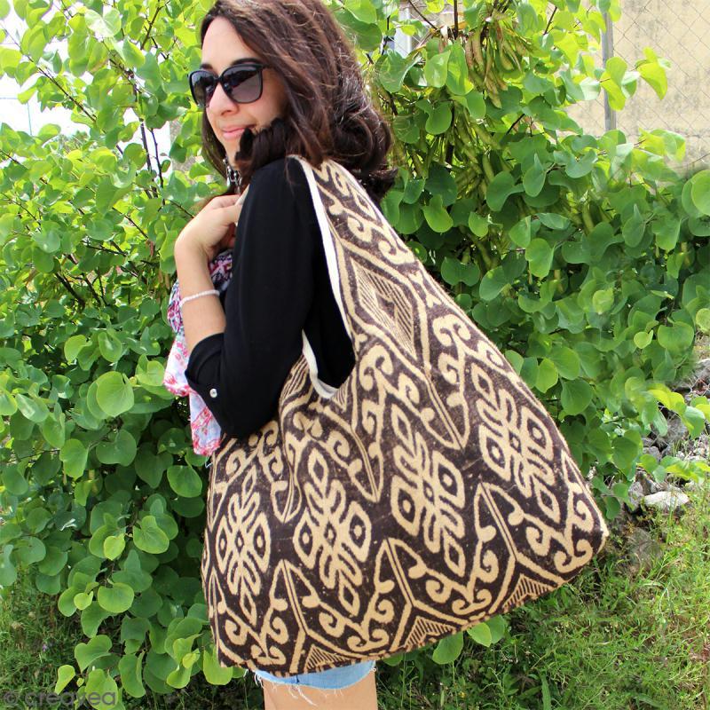 Maxi sac cabas en jute naturelle - Feuilles - Violet - 62 x 45 cm - Photo n°4