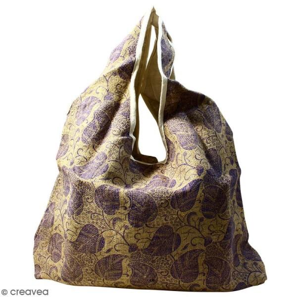 Maxi sac cabas en jute naturelle - Feuilles - Violet - 62 x 45 cm - Photo n°1