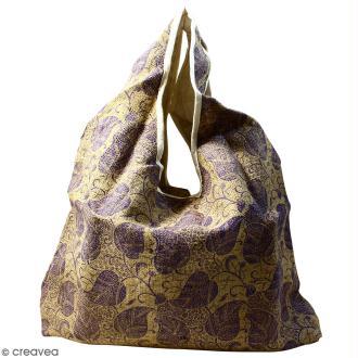 Maxi sac cabas en jute naturelle - Feuilles - Violet - 62 x 45 cm