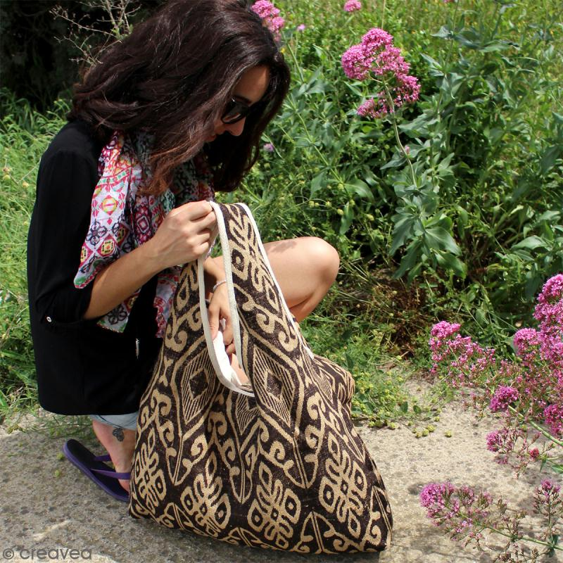 Maxi sac cabas en jute naturelle - Polynésien - Vert clair - 62 x 45 cm - Photo n°5