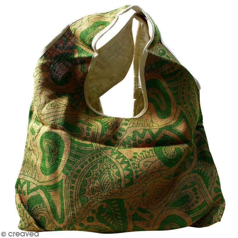Maxi sac cabas en jute naturelle - Polynésien - Vert clair - 62 x 45 cm - Photo n°1