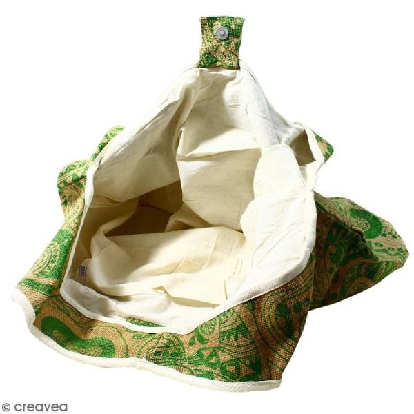 Maxi sac cabas en jute naturelle - Polynésien - Vert clair - 62 x 45 cm - Photo n°3