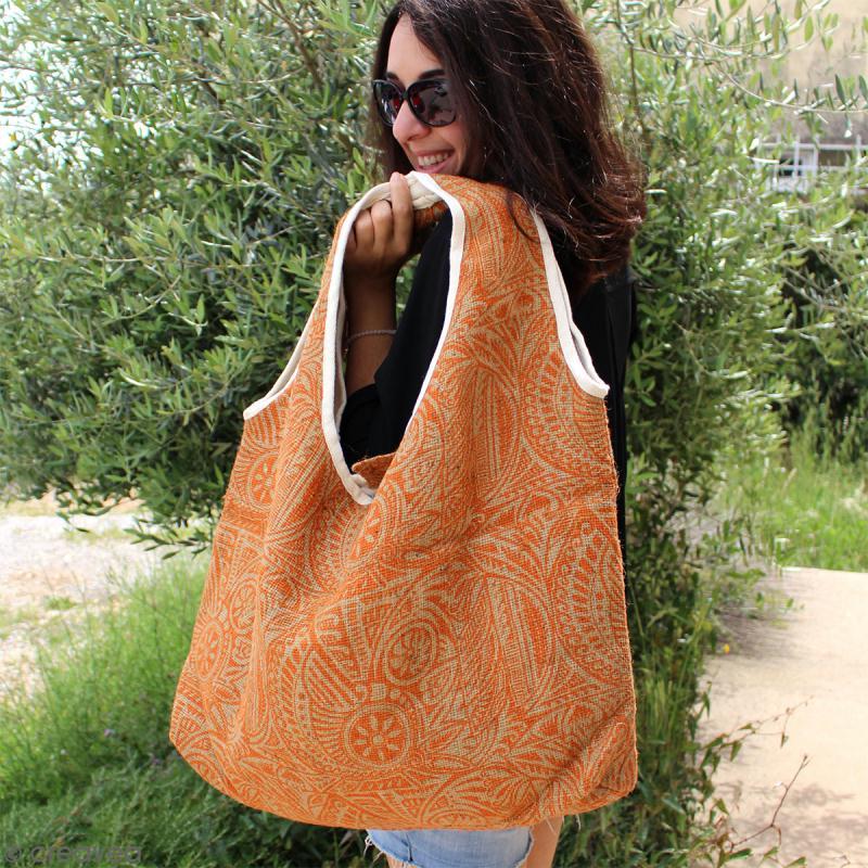 Maxi sac cabas en jute naturelle - Polynésien - Orange - 62 x 45 cm - Photo n°5