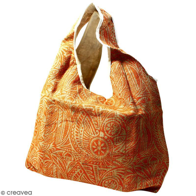 Maxi sac cabas en jute naturelle - Polynésien - Orange - 62 x 45 cm - Photo n°1