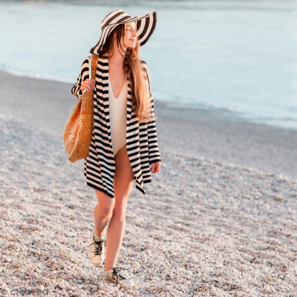 Maxi sac cabas en jute naturelle - Polynésien - Orange - 62 x 45 cm - Photo n°2