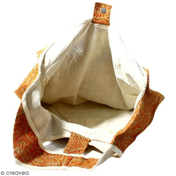 Maxi sac cabas en jute naturelle - Polynésien - Orange - 62 x 45 cm - Photo n°3