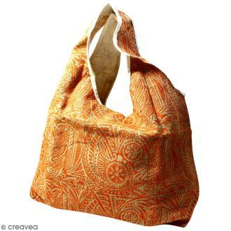 Maxi sac cabas en jute naturelle - Polynésien - Orange - 62 x 45 cm