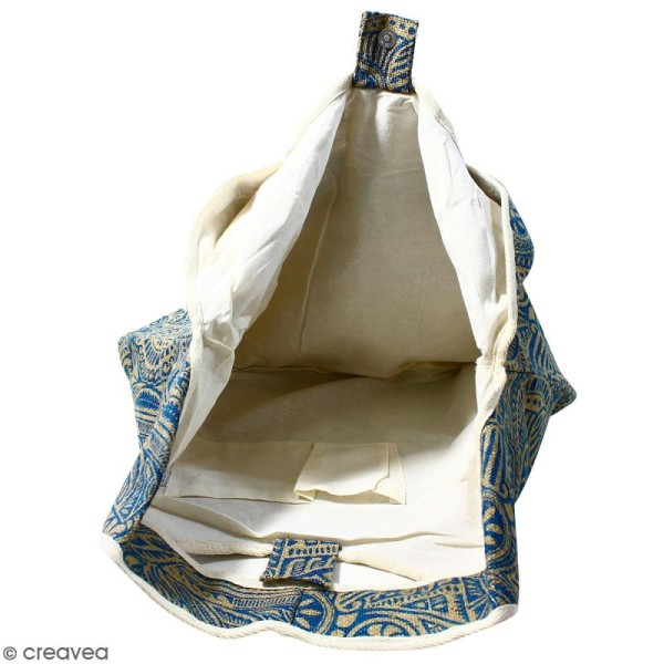Maxi sac cabas en jute naturelle - Polynésien - Bleu - 62 x 45 cm - Photo n°2